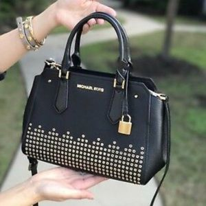 Michael Kors Hayes Medium Black Leather Bag New
